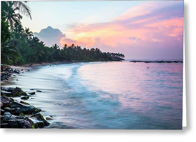 Sunrise At Mirissa Beach, South Coast Greeting Card by Matthew Williams-ellis