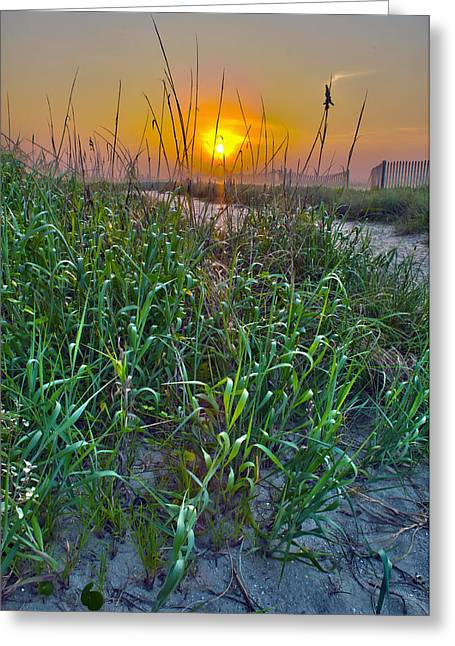 Greeting Card featuring the photograph Sunrise At Myrtle Beach by Alex Grichenko