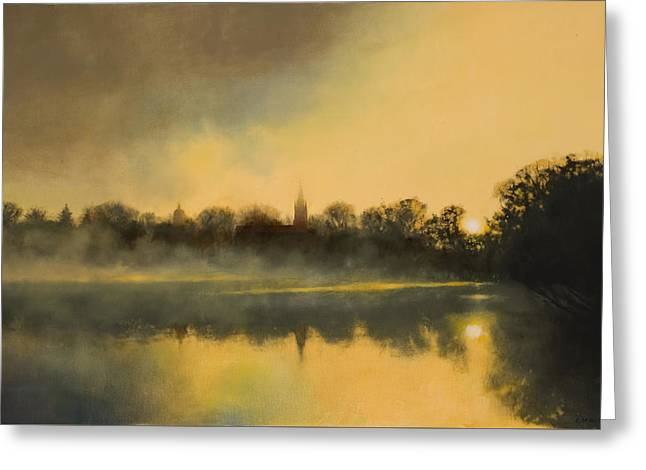 Greeting Card featuring the painting Sunrise At Notre Dame / Available As A Commission by Cap Pannell