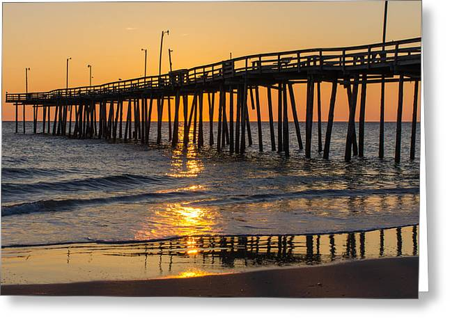 Sunrise At Outer Banks Fishing Pier Greeting Card