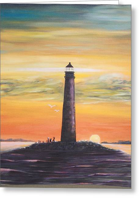 Sunrise At Sand Island Lighthouse Greeting Card
