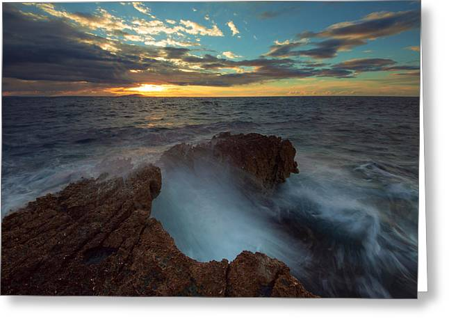 Sunrise At Sea Greeting Card by Davorin Mance