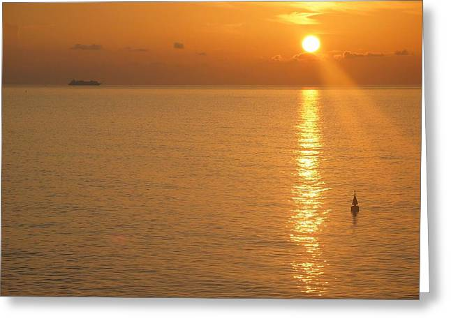 Greeting Card featuring the photograph Sunrise At Sea by Photographic Arts And Design Studio