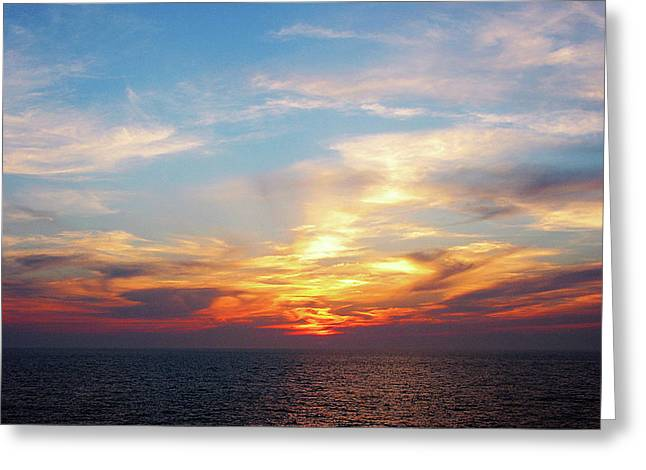 Sunrise At Sea Greeting Card by Susan Savad
