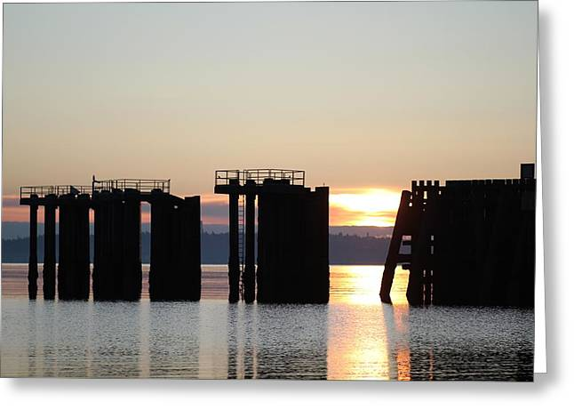 Greeting Card featuring the photograph Southworth Ferry Pilling At Dawn by E Faithe Lester