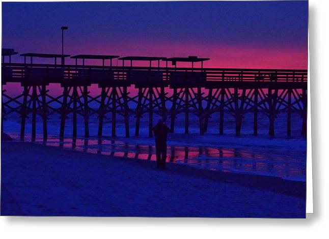 Sunrise At Surfside Pier Greeting Card by Stacy Sikes
