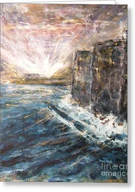 Sunrise At Tal-gurdan Cliffs Greeting Card by Marco Macelli