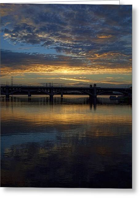 Sunrise At Tempe Town Lake Greeting Card by Elaine Snyder