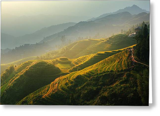 Sunrise At Terrace In Guangxi China 2 Greeting Card