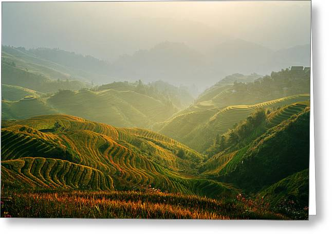 Sunrise At Terrace In Guangxi China 3 Greeting Card