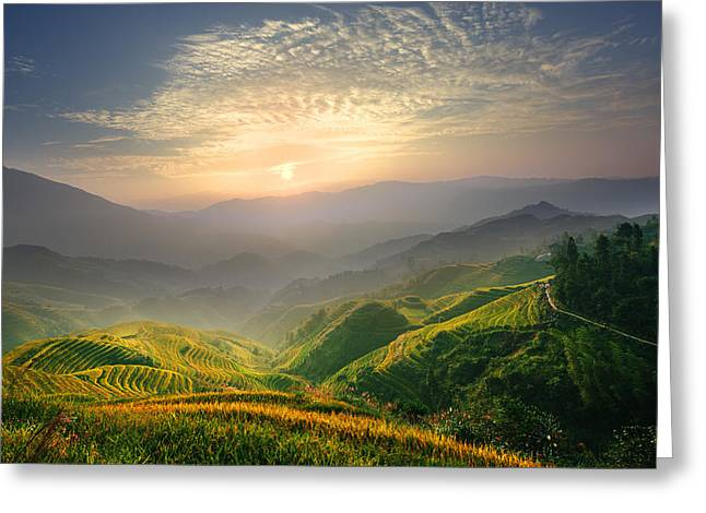 Sunrise At Terrace In Guangxi China 5 Greeting Card