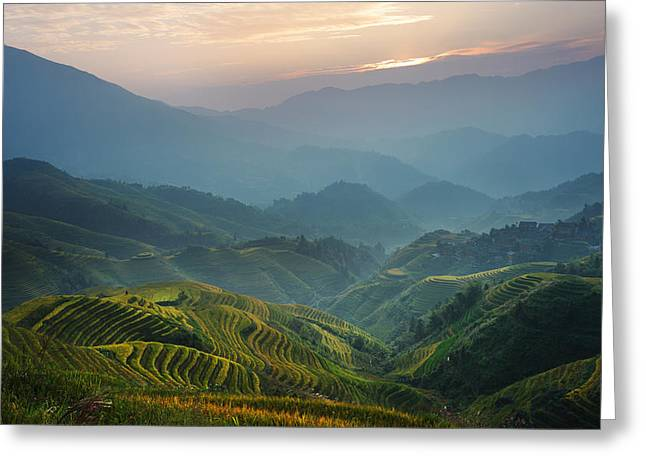 Sunrise At Terrace In Guangxi China 8 Greeting Card