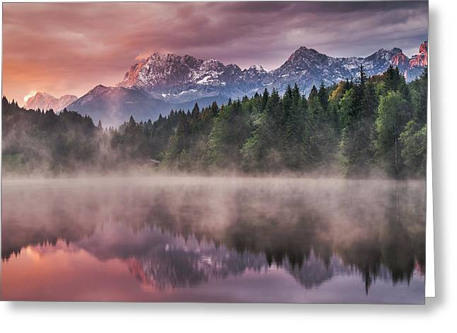 Sunrise At The Lake Greeting Card by Andreas Wonisch