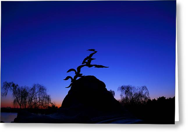 Sunrise At The Navy  Merchant Marine Memorial Greeting Card by Metro DC Photography