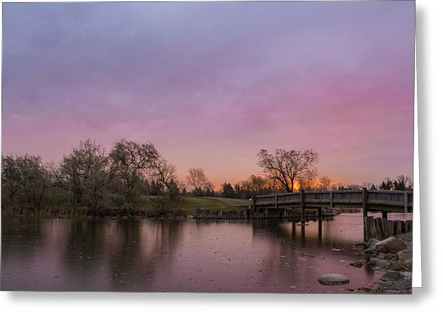 Sunrise At The Park Greeting Card by Dwayne Schnell
