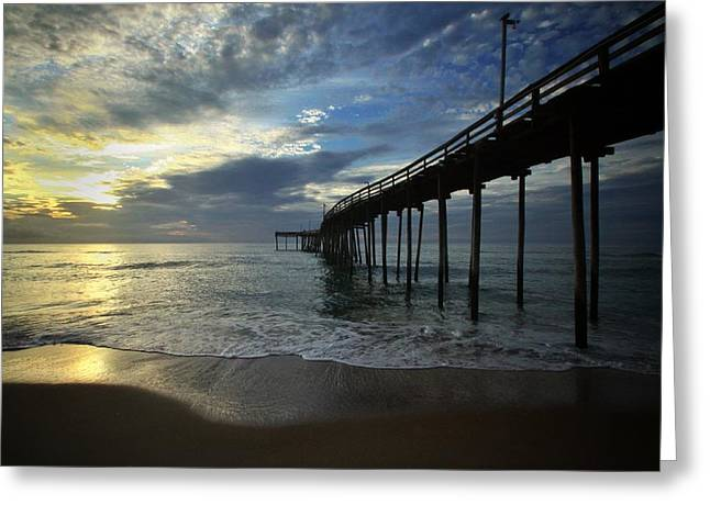 Sunrise At The Pier Greeting Card