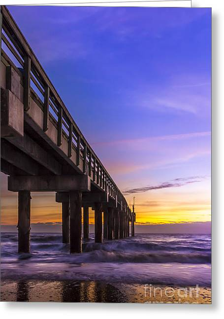 Sunrise At The Pier Greeting Card by Marvin Spates