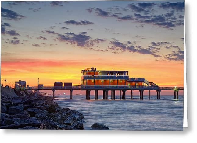 Sunrise At The Pier - Galveston Texas Gulf Coast Greeting Card by Silvio Ligutti