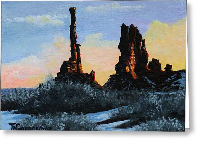 Sunrise At The Totem Pole Monument Valley Greeting Card by Timithy L Gordon