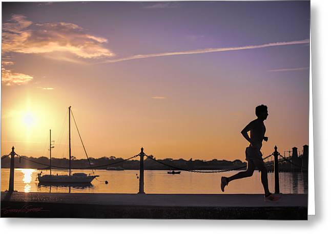 Sunrise Bayfront Runner Greeting Card