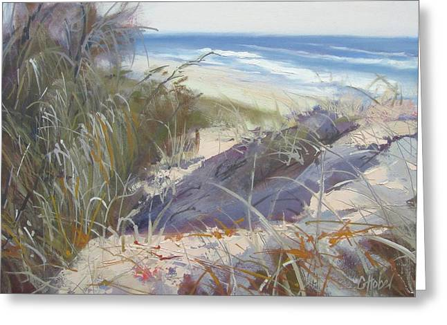 Greeting Card featuring the painting Sunrise Beach Dunes Sunshine Coast Qld Australia by Chris Hobel