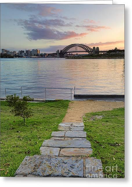 Sunrise Behind Sydney Harbour Bridge From Balmain Greeting Card