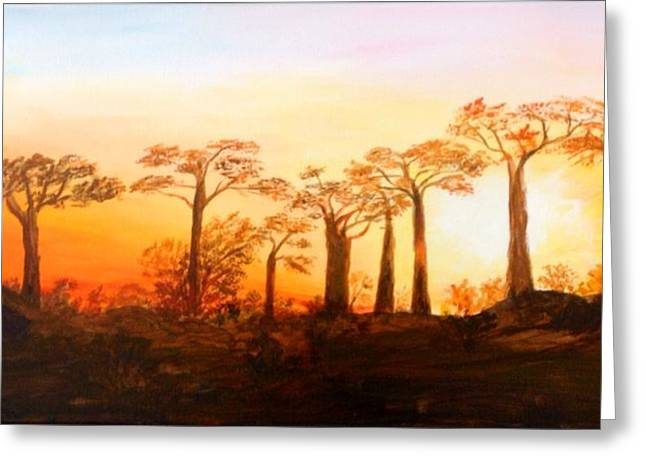 Greeting Card featuring the painting Sunrise Boab Trees by Renate Voigt