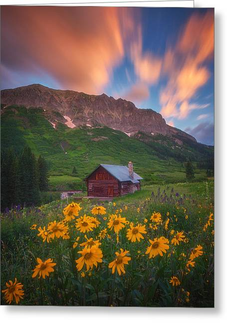 Sunrise Cabin Greeting Card by Darren  White