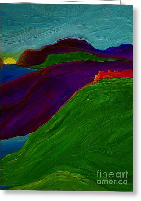 Greeting Card featuring the painting Sunrise Castle By Jrr by First Star Art