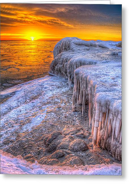 Sunrise Chicago Lake Michigan 1-30-14 05 Greeting Card by Michael  Bennett