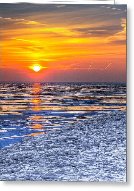 Sunrise Chicago Lake Michigan 3-9-14 Greeting Card by Michael  Bennett