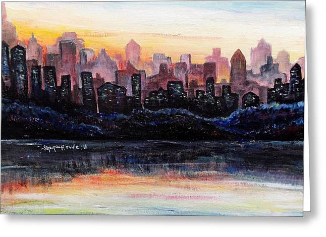 Greeting Card featuring the painting Sunrise City by Shana Rowe Jackson