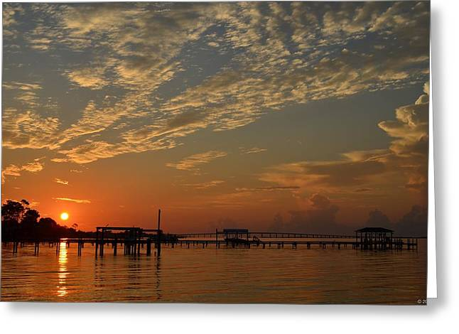 Sunrise Colors With Storms Building On Sound Greeting Card
