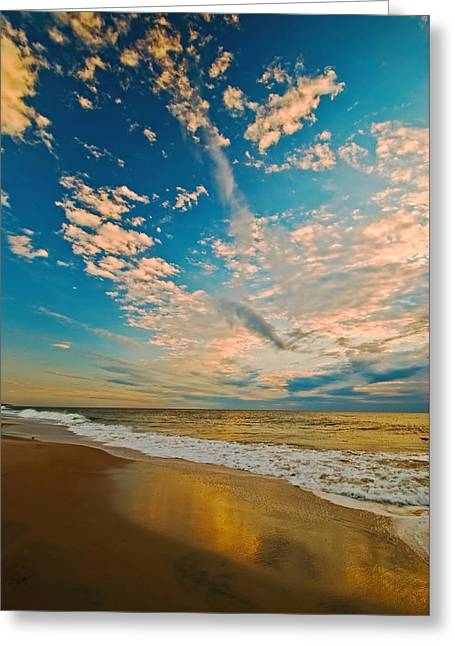 Sunrise Coming At The Shore. Greeting Card by Bill Jonscher