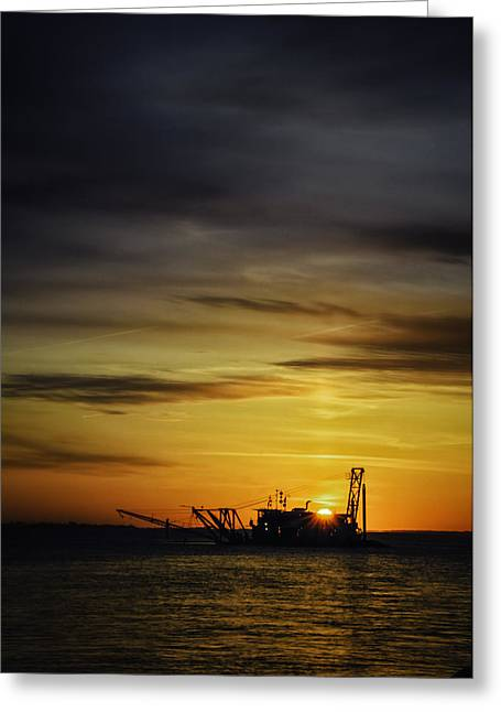Sunrise Dredging Greeting Card by Vicki Jauron