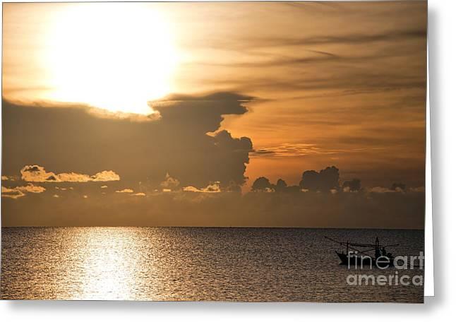 Sunrise Fisherman 01 Greeting Card by Antony McAulay