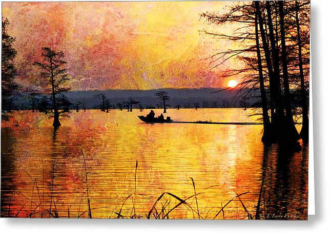 Sunrise Fishermen Heading For The Perfect Spot Greeting Card by J Larry Walker