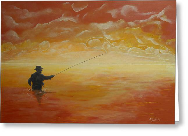Sunrise Fishing Greeting Card by Donna Blackhall