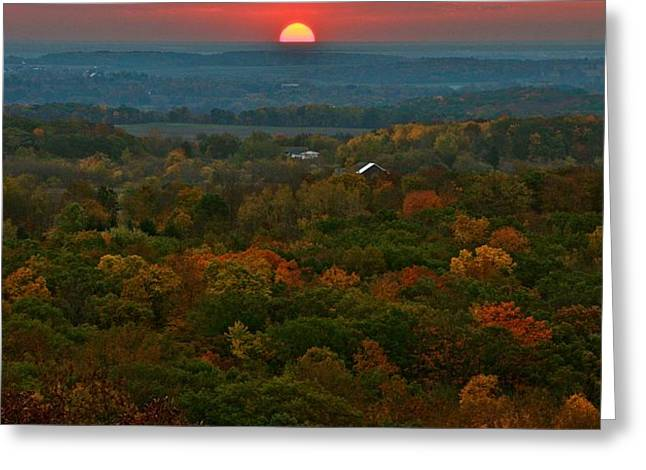 Sunrise From Atop Greeting Card by Julie Franco