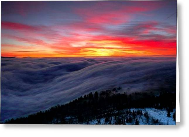 Sunrise From Mountaintop Greeting Card by Troy Caperton