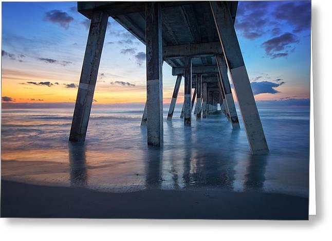 Sunrise From Under Johnnie Mercer's Pier Wrightsville Beach Nc Greeting Card