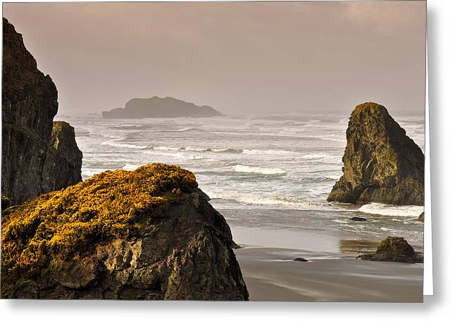 Greeting Card featuring the photograph Sunrise Gold And Surf by Kevin Munro
