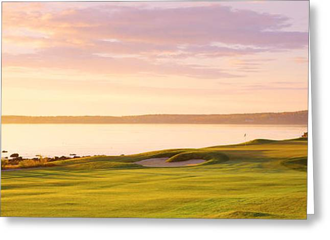 Sunrise Golf Course Me Usa Greeting Card by Panoramic Images