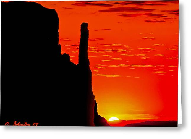 Sunrise In Monument Valley Greeting Card by Bob and Nadine Johnston