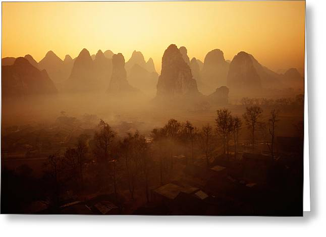 Sunrise In Mountains Guilin China Greeting Card