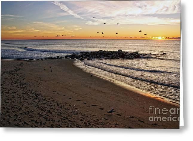 Greeting Card featuring the photograph Sunrise In Ocean Grove by Debra Fedchin