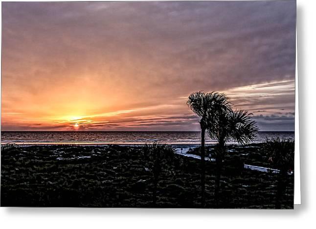 Sunrise In Orange Greeting Card by Christina Manassa