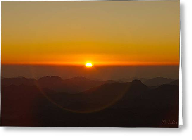 Greeting Card featuring the pyrography Sunrise In Sinai Mountains by Julis Simo