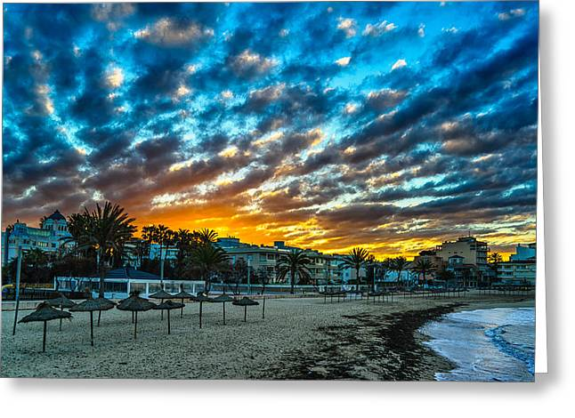 Sunrise In The Beach Greeting Card by Maksims Novikovs