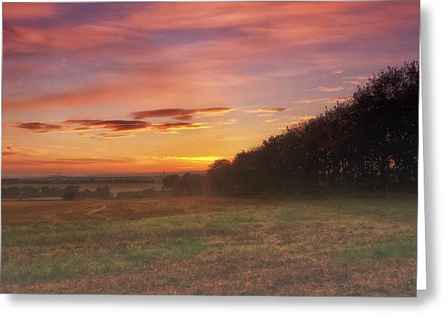 Sunrise In The Fields Greeting Card